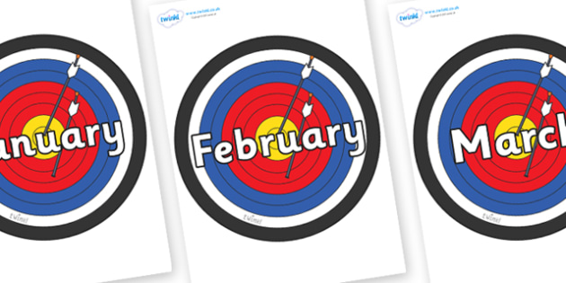 Months of the Year on Colour Targets - Months of the Year, Months poster, Months display, display, poster, frieze, Months, month, January, February, March, April, May, June, July, August, September