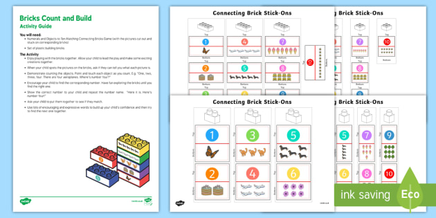 Brick Count and Build Busy Bag Resource Pack for Parents - Toys, counting, matching, bricks, Lego, build, building bricks, tower, count, match, number, numeral