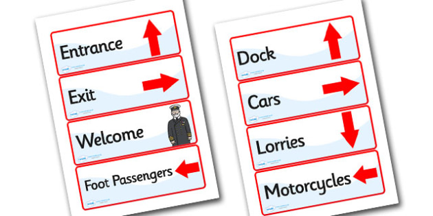Ferry Port Role Play Display Signs-ferry port, role play, display signs, signs for role play, role play signs, ferry port signs, signs
