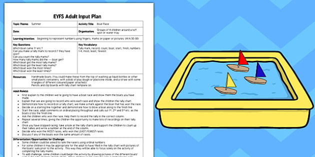 Boat Race EYFS Adult Input Plan and Resource Pack - early years