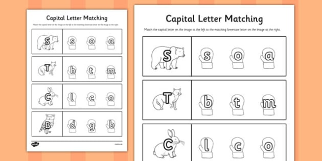 The Mitten Themed Capital Letter Matching Worksheet - the mitten