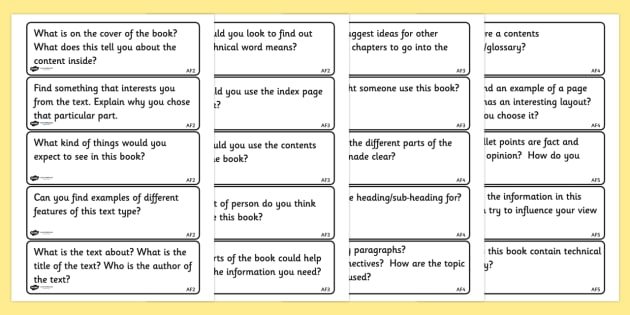Fiction Reading Prompt Cards - non fiction, reading, prompts