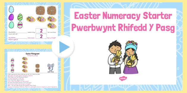 Pwerbwynt Rhifedd- Y Pasg Easter Numeracy Starter PowerPoint Welsh Translation - welsh, cymraeg, Foundation Phase, Mathematical Development, Easter, Using data skills