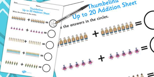 Thumbelina Up to 20 Addition Sheet - adding, addition, stories