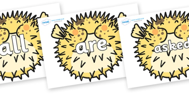Tricky Words on Pufferfish - Tricky words, DfES Letters and Sounds, Letters and sounds, display, words