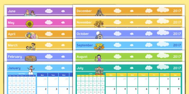 2017 Themed Calendar - 2017 calendar, 2017, calendar, year, months of the year