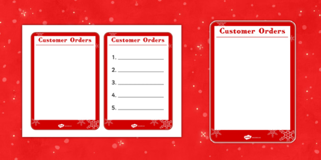 Christmas Cafe Role Play Order Form - christmas caf