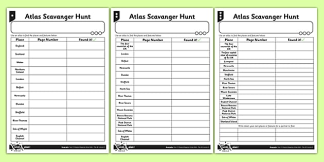 Differentiated Atlas Scavenger Hunt Activity Sheet - atlas, scavenger hunt, activity, geography, worksheet