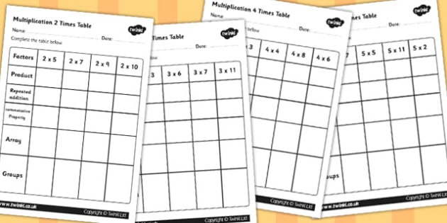 Multiplication Chart Template  Multiplication Table