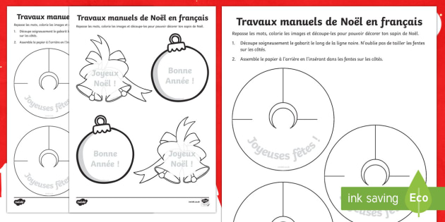 Travaux manuels de Noël en français - french, christmas, crafts, activity