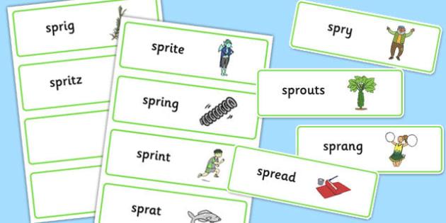SPR Word Cards - sen, sound, spr sound, spr, word cards, word, cards