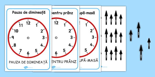 Ceasuri cu momentele zilei - Planșe - ceasul, un sfert, și un sfert, unități de măsură pentru timp, timp, ore, minute, romanian, materiale, materiale didactice, română, romana, material, material didactic