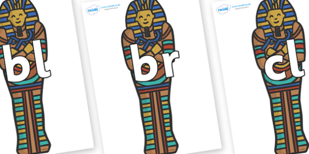 Initial Letter Blends on Sarcophagus - Initial Letters, initial letter, letter blend, letter blends, consonant, consonants, digraph, trigraph, literacy, alphabet, letters, foundation stage literacy
