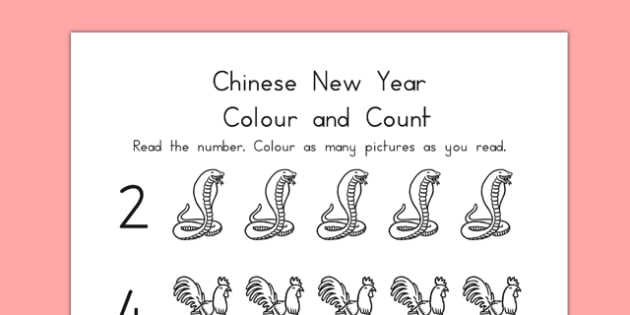 Chinese New Year Themed Count and Colour Sheet - australia, count