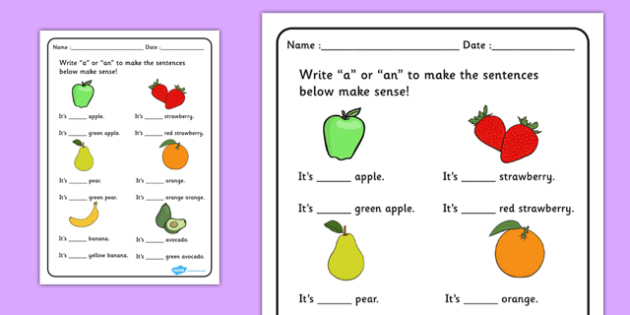 a or an Worksheet Fruit - a or an, worksheet, fruit, spag, a, an, words, sounds
