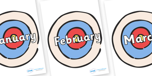 Months of the Year on Targets - Months of the Year, Months poster, Months display, display, poster, frieze, Months, month, January, February, March, April, May, June, July, August, September
