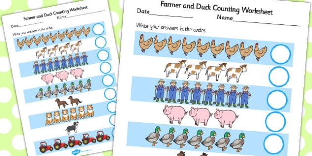 Farmer and Duck Counting Sheet - farmer duck, counting sheets, counting, themed counting sheets, counting worksheet, farmer duck worksheet, numeracy, maths