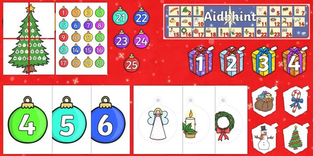 Aidbhint Display Pack-Gaeilge - Christmas, Nollag, Advent, Aidbhint, Calendar, Féilire Aidbhinte,