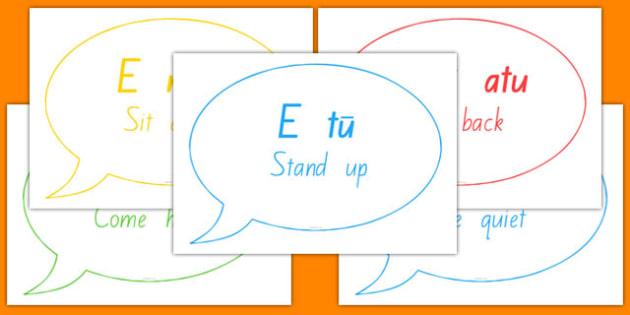Commands and Basic Phrases Speech Bubbles Te Reo Māori - nz, new zealand, Māori language, commands, phrases