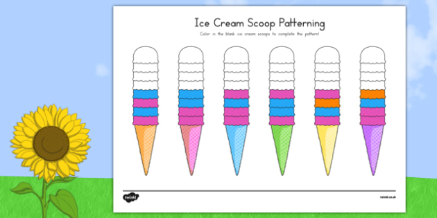 Ice Cream Scoop Repeating Patterns - usa, america, ice cream, summer, scoop, repeating patterns