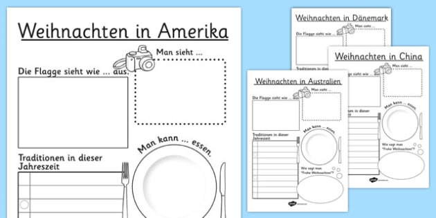 Weihnachten Around the World Writing Frames German - german, christmas, around the world, writing frame, writing, frames