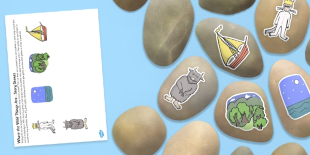Story Stones Image Cut Outs to Support Teaching on Where the Wild Things Are - where the wild things are