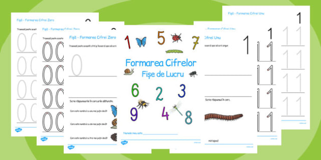 Mici viețuitoare formarea numerelor 0-9 - Broșură