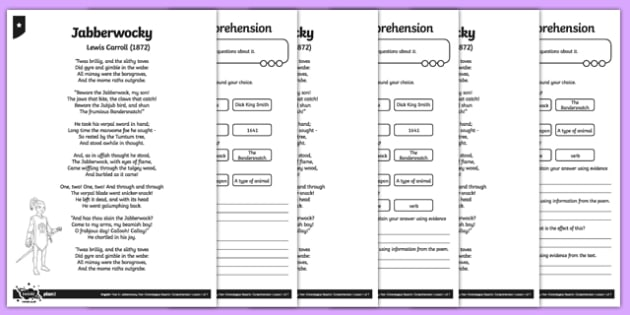 Jabberwocky Differentiated Comprehension Activity Sheets , worksheet