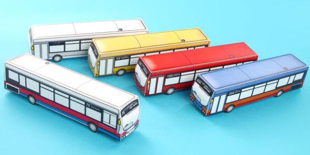 Transport Paper Model Bus - transport, paper, bus, model, craft