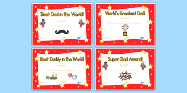 Fathers Day Certificate - awards, dad, father, certificates