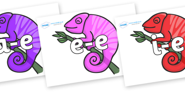 Modifying E Letters on Chameleons - Modifying E, letters, modify, Phase 5, Phase five, alternative spellings for phonemes, DfES letters and Sounds