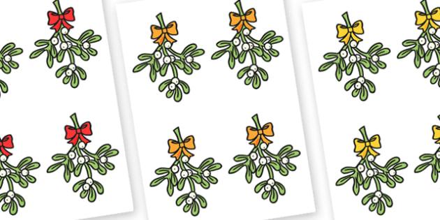 Editable Mistletoe - Christmas, xmas, mistletoe, editable, tree, advent, nativity, santa, father christmas, Jesus, tree, stocking, present, activity, cracker, angel, snowman, advent , bauble