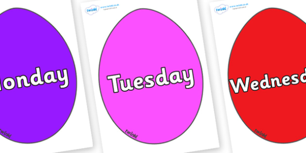 Days of the Week on Easter Eggs (Plain) - Days of the Week, Weeks poster, week, display, poster, frieze, Days, Day, Monday, Tuesday, Wednesday, Thursday, Friday, Saturday, Sunday