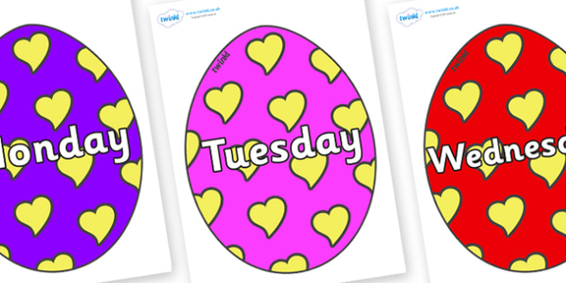 Days of the Week on Easter Eggs (Hearts) - Days of the Week, Weeks poster, week, display, poster, frieze, Days, Day, Monday, Tuesday, Wednesday, Thursday, Friday, Saturday, Sunday