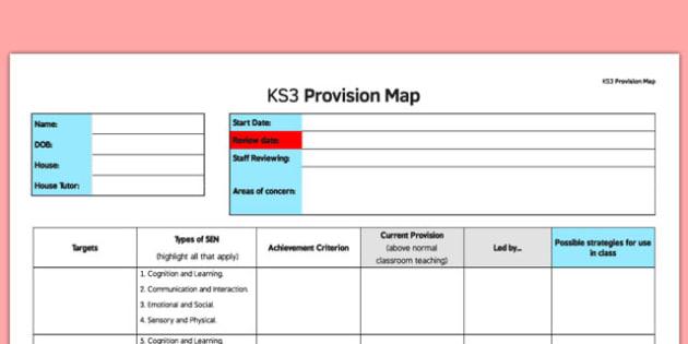 KS3 Provision Map - ks3, provision, map, provision log, keystage 3, sen