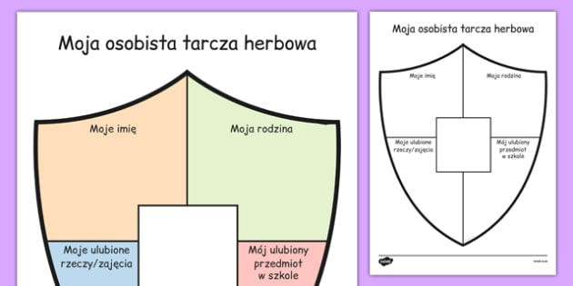 Cwiczenie na pisanie Moj prywatny herb po polsku - dzieci , Polish