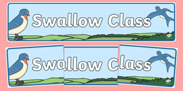 Swallow Class Display Banner - class, display banner, display, abnner, birds, bird, swallow, flying, class name, over door, introduction,ks1, ks2, eyfs