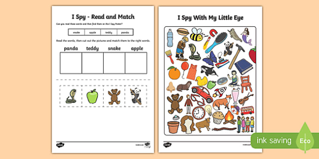 I Spy Read and Match Phase 2 Initial Sounds Set 1 - phonics, dfe, letters, sounds, letters and sounds, phase two, phase, 2, two, reading, matching, initital, first, i, spy, game, activity, find, hunt, look, see, spot, play, playing