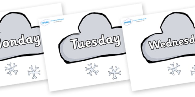 Days of the Week on Weather Symbols (Snow) - Days of the Week, Weeks poster, week, display, poster, frieze, Days, Day, Monday, Tuesday, Wednesday, Thursday, Friday, Saturday, Sunday