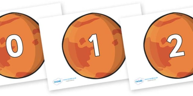 Numbers 0-50 on Mars - 0-50, foundation stage numeracy, Number recognition, Number flashcards, counting, number frieze, Display numbers, number posters