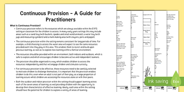 Continuous Provision: A Guide for Practitioners