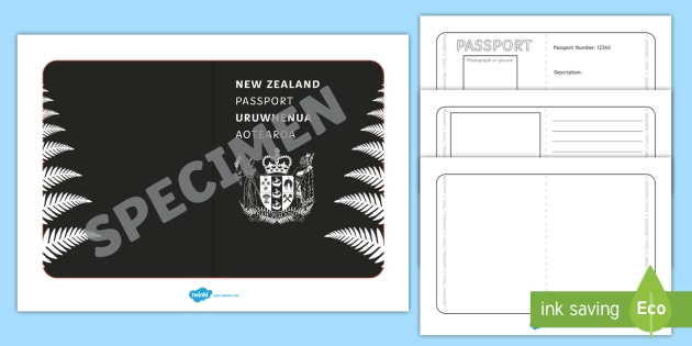 New Zealand Passport Template Activity  New Zealand Passport