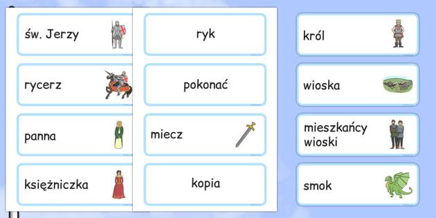 Karty ze słownictwem św. Jerzy i smok po polsku - święta
