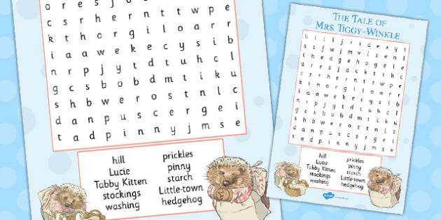 The Tale of Mrs Tiggy Winkle Wordsearch - mrs tiggy winkle, wordsearch, activity