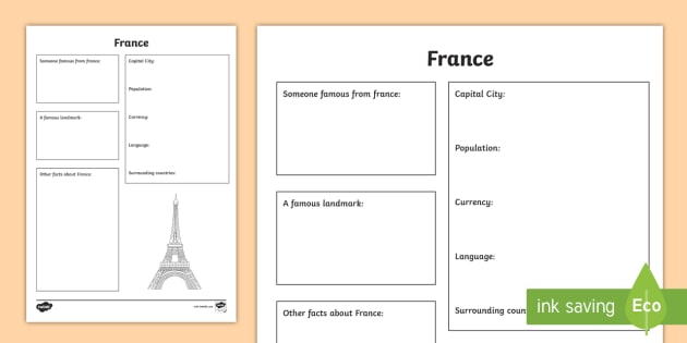France Factsheet Writing Template - France, France Fact Sheet