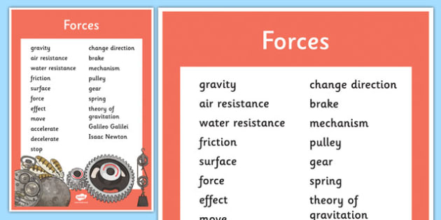 Year 5 Forces Scientific Vocabulary Poster - UKS2, KS2, force, science, words, technical, terms