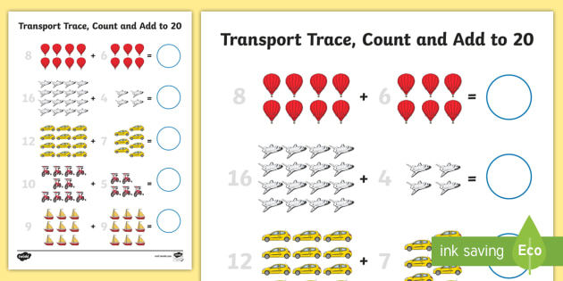 Transport Trace Count and Add to 20 Worksheet - transport, trace, count, add, 20, worksheet
