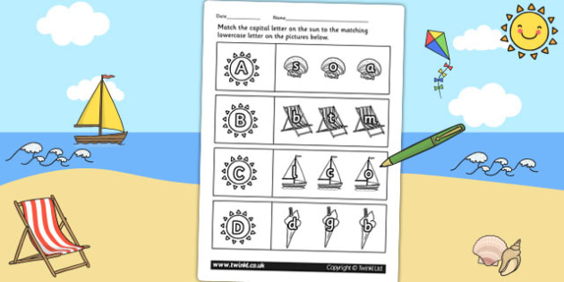 Seaside Themed Capital Letter Matching Worksheet - uppercase