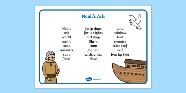 Noah's Ark Word Mat - Noah's Ark, word mat, mat writing aid, noah, tools, ark, animals, rain, rainbow, flood, dove, land