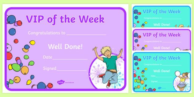 VIP of the Week Certificate